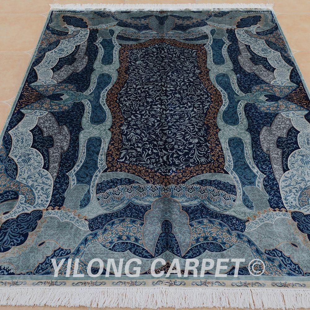 Yilong 6'x9 Turki Pola Rajutan Karpet Persia Sutra Unik Pola Biru - Tekstil rumah - Foto 2
