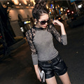 Women Lace Tops Romantic Black&Gray Sweater Round Neck Long Sleeve Sexy Hollow Lace Women Nightclubs