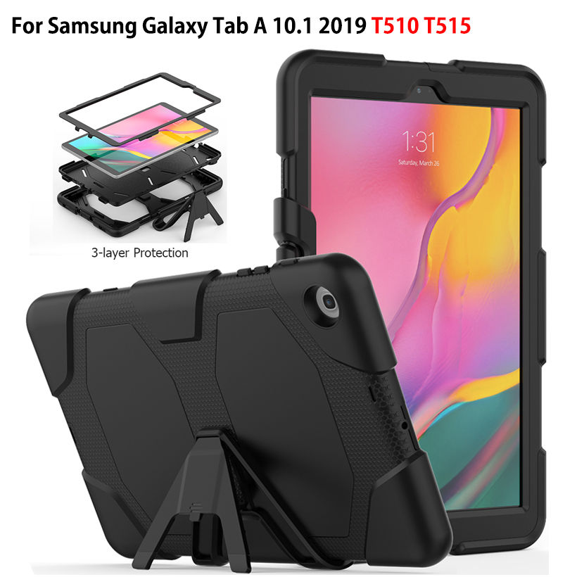 <font><b>Case</b></font> For <font><b>Samsung</b></font> Galaxy Tab A 10.1 2019 <font><b>T510</b></font> T515 <font><b>SM</b></font>-<font><b>T510</b></font> <font><b>SM</b></font>-T515 Cover Funda Tablet Shockproof Heavy Duty With Stand Hang Capa image
