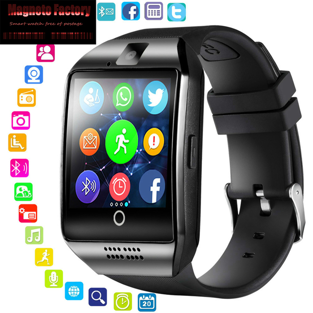 US $4 19 30% OFF|2019 Bluetooth Smart Watch Men Q18 with Camera Facebook  Whatsapp Twitter Sync SMS Smartwatch Support SIM TF Card for IOS Android-in