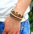 18 colors3 Pieces/Set Handmade Retro Leather Woven Charm Bracelets Wood Beads Wax rope braided bracelet Male Female Jewelry