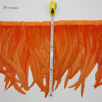 10 yards 30 35cm Orange Feather Ribbon Dyed Rooster Feather Fringe Trim For Wedding Party Decoration DIY Clothes Accessories