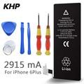 100% original marca khp bateria do telefone para o iphone 6 plus baterias capacidade real 2915 mah com kit de ferramentas de máquina móvel