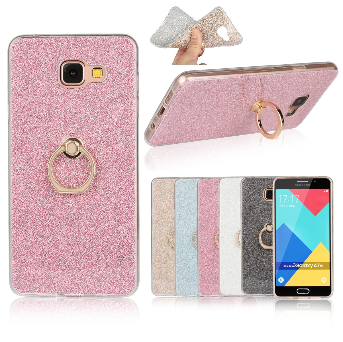 Soft Ring Phone Case for Samsung Galaxy S9 S8 A6 Plus S7 S6 S5 S4 Finger Holder Support Bling Cover TPU Rubber Cases New Luxury