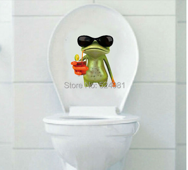 Great Fashion Toilet Sticker   Cute Green Frog Toilet Sticker  Wall Sticker Home Decor  Bathroom Decor