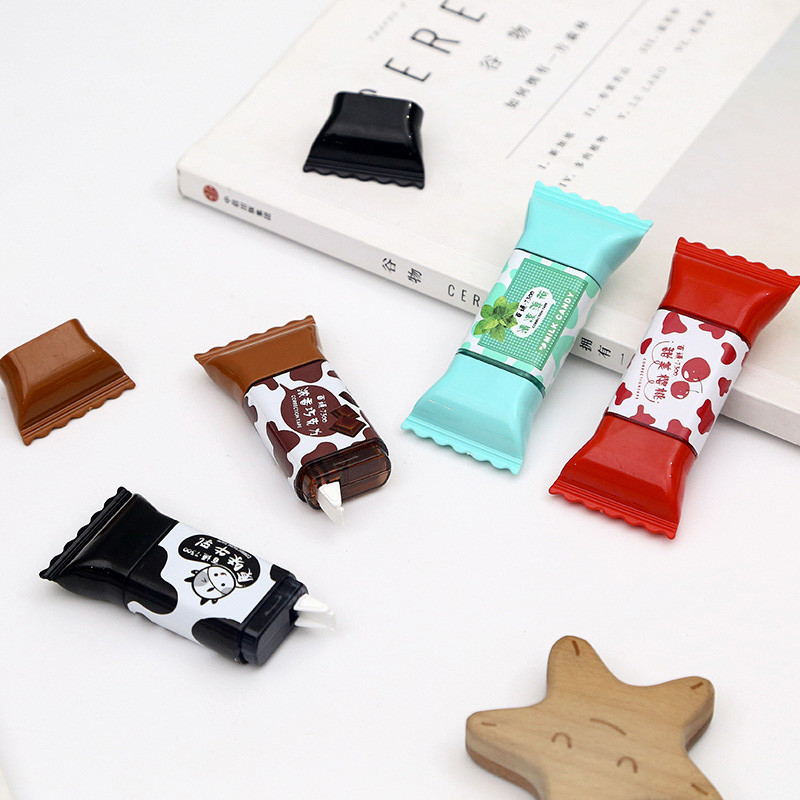 1 Piece Creative Candy Shaped Correction Tape Stickers School Office Supplies Student Press Type 3.5 Meters Free Shipping