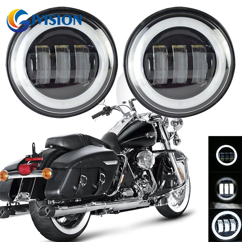 1 Pair 4.5 INCH LED Auxiliary Lamp Spot Passing Projector Fog Light With Angel Eyes DRL Full Halo For Motorcycle