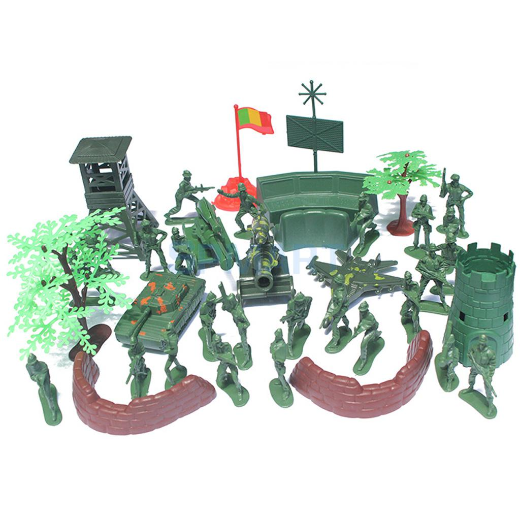 37Pcs Plastic Model Playset Toy Soldiers 5cm Action Figures Soldiers Army Men Accessories Army Sand Scene Model Sand Table Accs