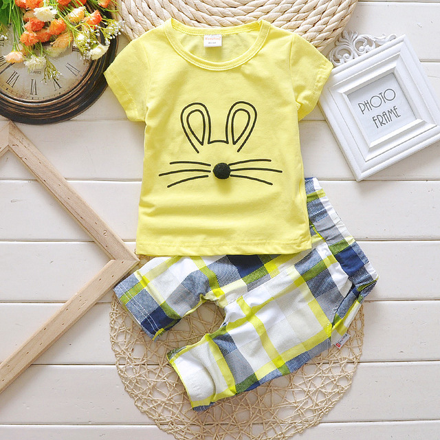 2016 Hot Sale Baby Girls Clothes Sets Infant Summer Baby Clothing Sets Mouse T-shirt+Plaid Shorts Kids Children Clothes Suit