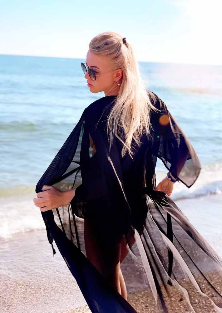 2019 sommer Frauen Badeanzug Bikini Cover Up Sexy Strand Abdeckung Ups Chiffon Lange Kleid Elegante Solide Strand Badeanzug tunika kaftan