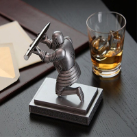 Executive Officer Knight Pen Holder Wearing A Helmet Hero Knight Kneeling Penholder Bronze Statue With Helmet Holder