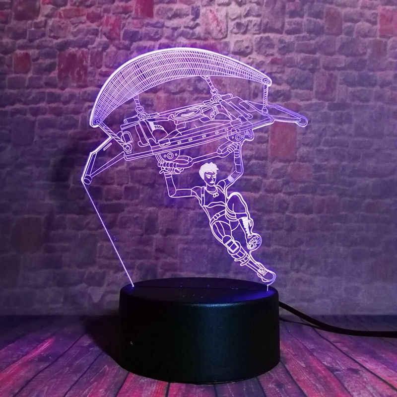 Batalha royale figura de jogo 3d nightlight led 7 cores mudando luz da mesa do sono figma pubg light-up brinquedos