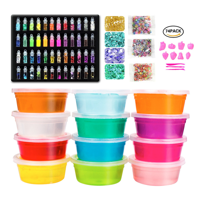 US $21 38 20% OFF|Slime Making Kit ,Gift Set For Girls and Boys Fruit Kits  In A Case Make Own Slime Soft Glitter Pots Starter Box DIY Science Game-in