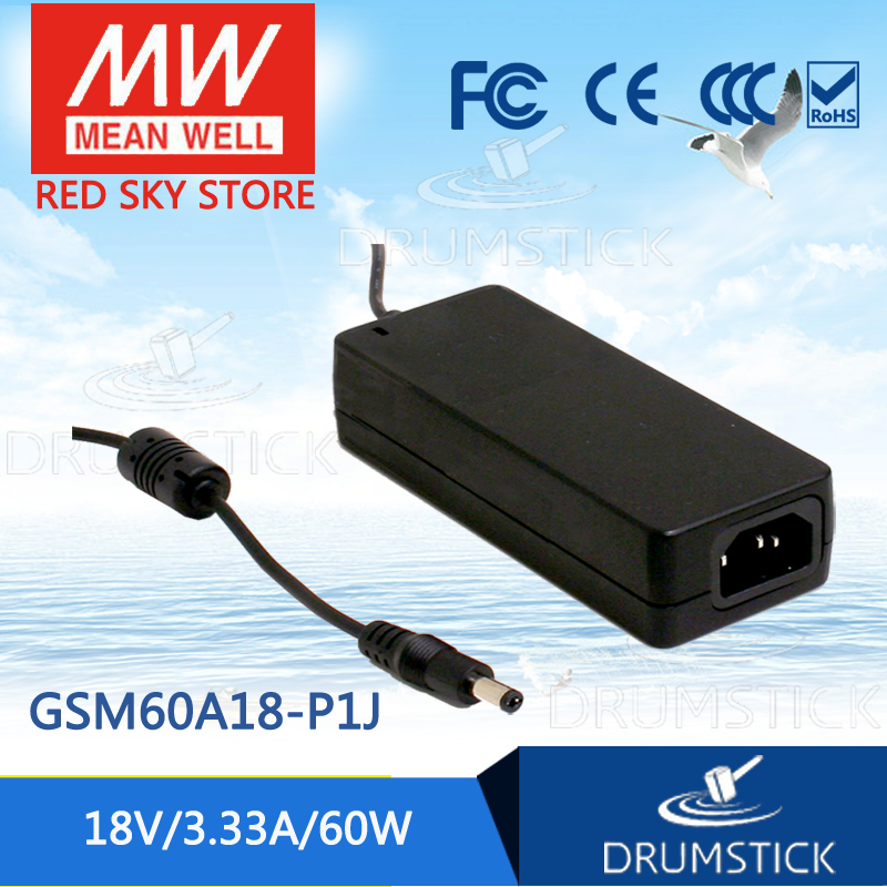 100% Original MEAN WELL GSM60A18-P1J 18V 3.33A meanwell GSM60A 18V 60W AC-DC High Reliability Medical Adaptor 1mean well original gsm160a24 r7b 24v 6 67a meanwell gsm160a 24v 160w ac dc high reliability medical adaptor