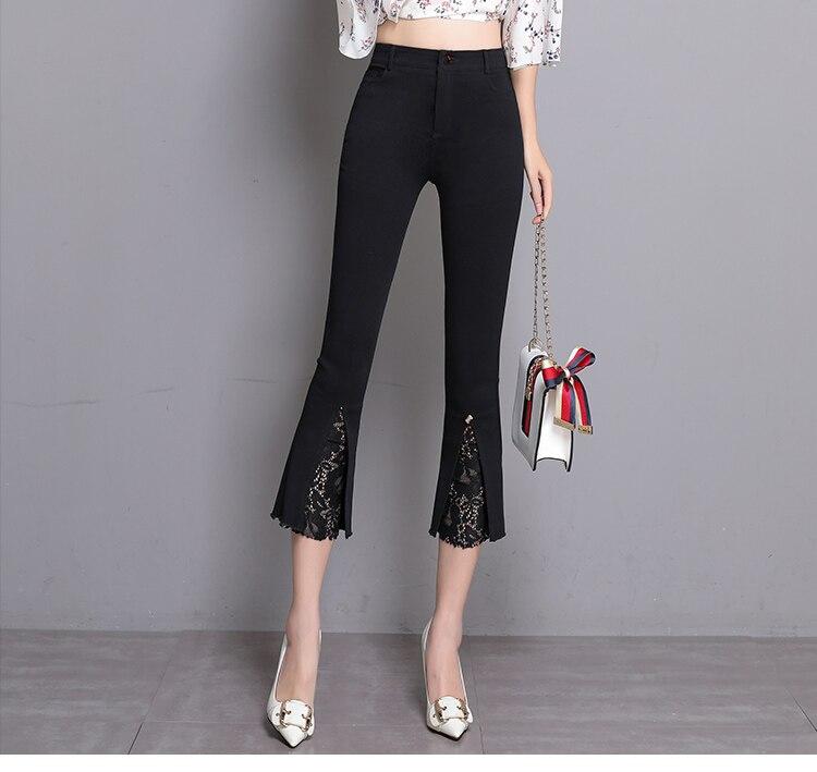 91bb810c3f8ea4 2018 Summer Women Pants High Waist Calf length Stretchy Lace Flare Pants  Leggings Pantalon Femme White Black Plus Size S~4XL 5XL-in Pants & Capris  from ...