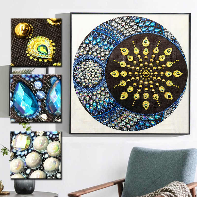 RUBOS DIY 5D Diamond Mosaic Mandala Sun and Moon Diamond Embroidery Painting Multi Picture Rhinestones Glass Pearl Big Bead Sale