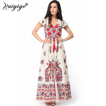 2018 Floral African Print Long Dress Split V Neck Sexy Chiffon Maxi Summer Rockabilly  Tunic Beach Big Size Vestidos Femme Robe 5f360496e4f1