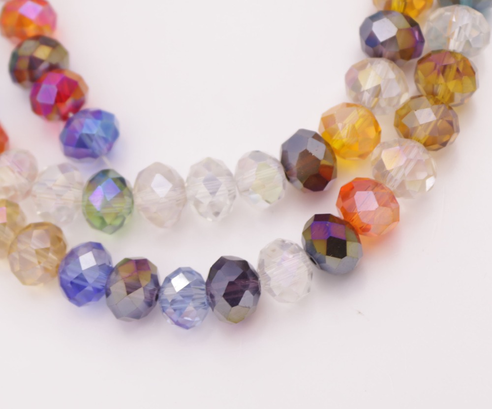 Купить с кэшбэком Faceted Rondelle AB Color Czech Glass Crystal Loose Beads 4mm 6mm 8mm 10mm