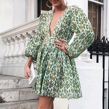Cuerly 2019 Elegant deep v neck green print dress summer long sleeve party club pleated dresses sexy fit and flare mini dress