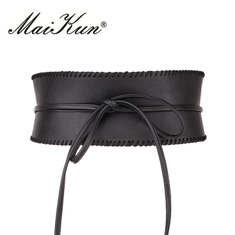 Maikun Large Ceintures pour Femmes Obi Style Mode Auto-Cravate Bowknot  Femelle Sangle PU En 40d690a37c9
