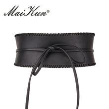 Maikun Wide Belts for Women Obi Style Fashion Self Tie Bowknot Female Strap PU Leather Women Belt sweet style flared sleeves shirt with self tie bowknot