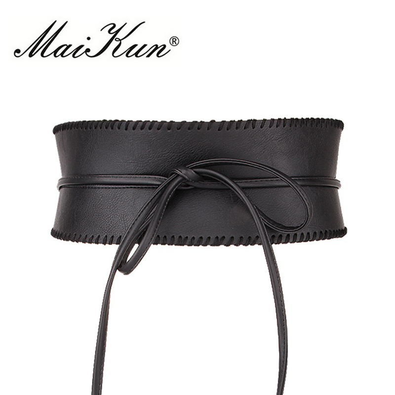 Maikun Wide   Belts   for Women Obi Style Fashion Self Tie Bowknot Female Strap PU Leather Women   Belt