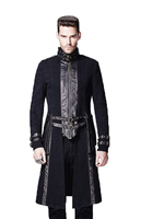 Punk new products turtleneck patchwork symmetrical punk outerwear male Steampunk Jacket Coat Long Trench Coat men