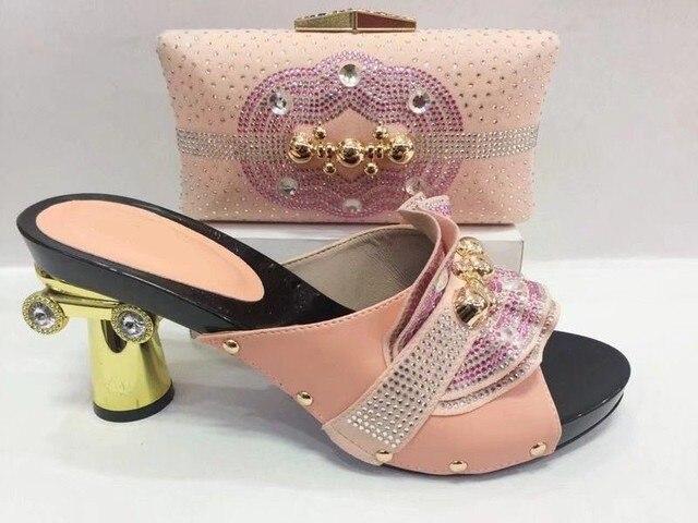 Hot sale peach flowers women pumps with Big crystal african shoes match handbag set for dress A102,heel 8.5CM