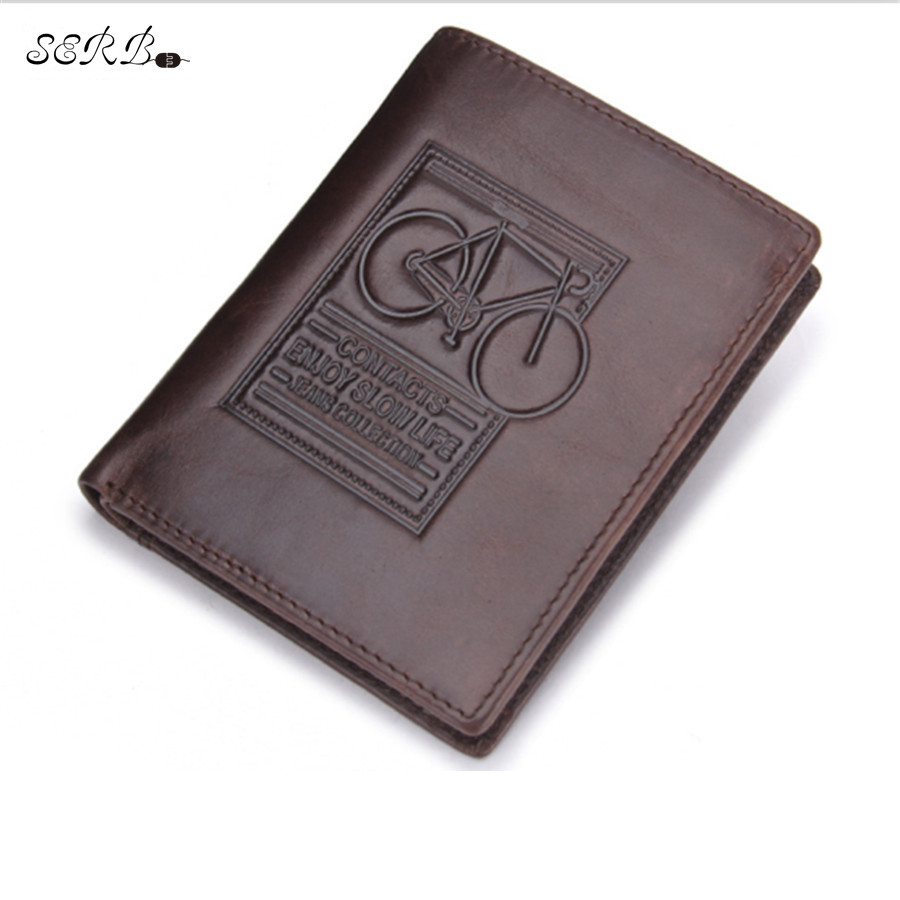 2016 Men Cow Leather Wallets Vintage Short Coin Purse Male Card Holder Wallet Brown Coffee Soft Real Genuine Cowhide M2006