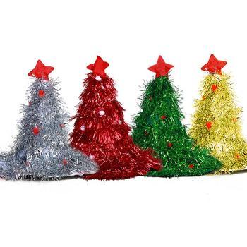 4 kolory boże narodzenie drzewo kapelusz dzieci West słomkowy kapelusz sukienka na imprezę do Cap boże narodzenie West boże narodzenie Cap boże narodzenie dekoracje 1 PC j2 tanie i dobre opinie Christmas Tree Hat COTTON TOPATY Xicao Silver Green Red Gold
