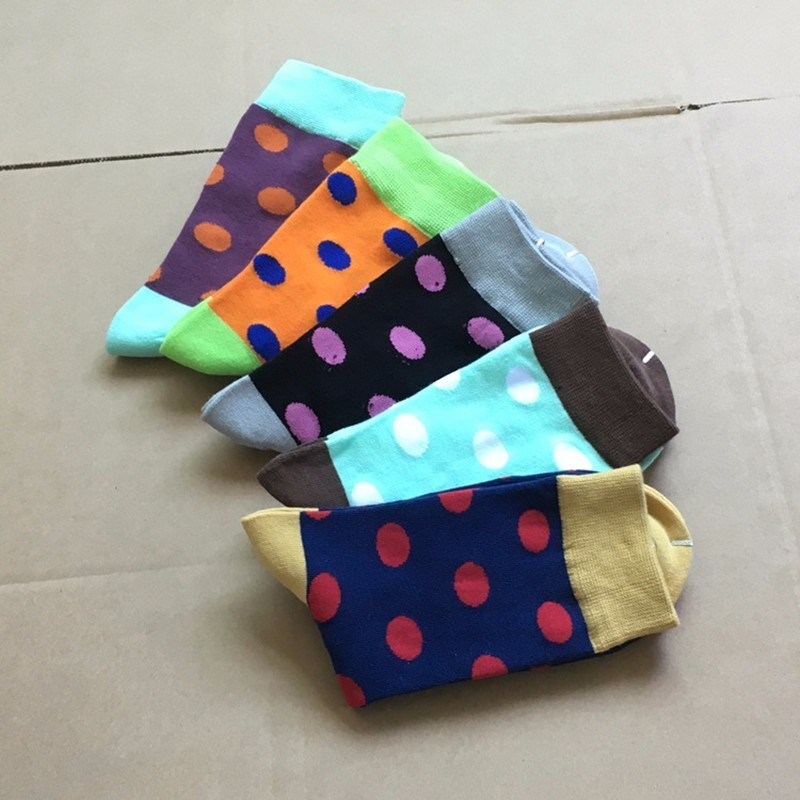 POENFLY 5 Pairs/lot Colorful Mens Polka Dots Cotton Crew Socks Business Long Happy Sox Harajuku Designer Pattern Funny Big Size