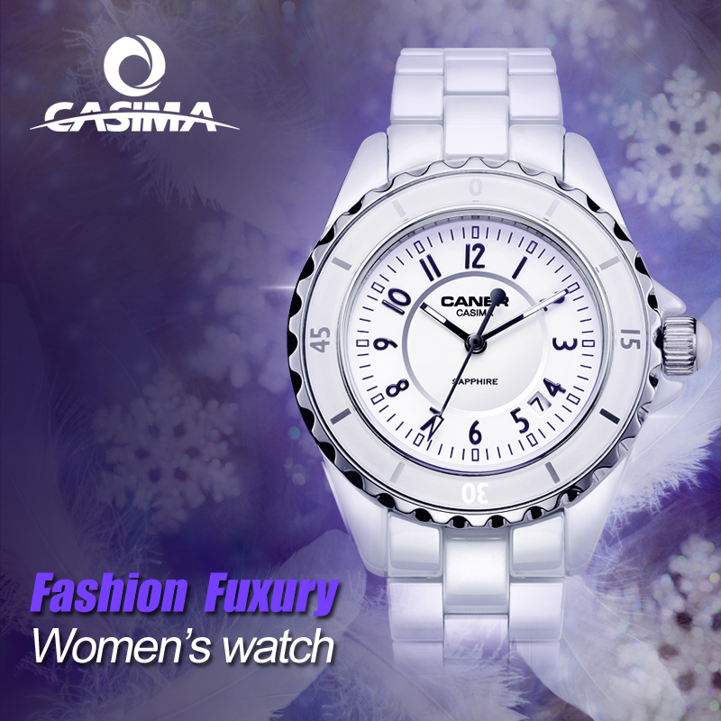 CASIMA Luxury Fashion Date Waterproof White Ceramic Quartz Ladies Watches with Sapphire Crystal 6702