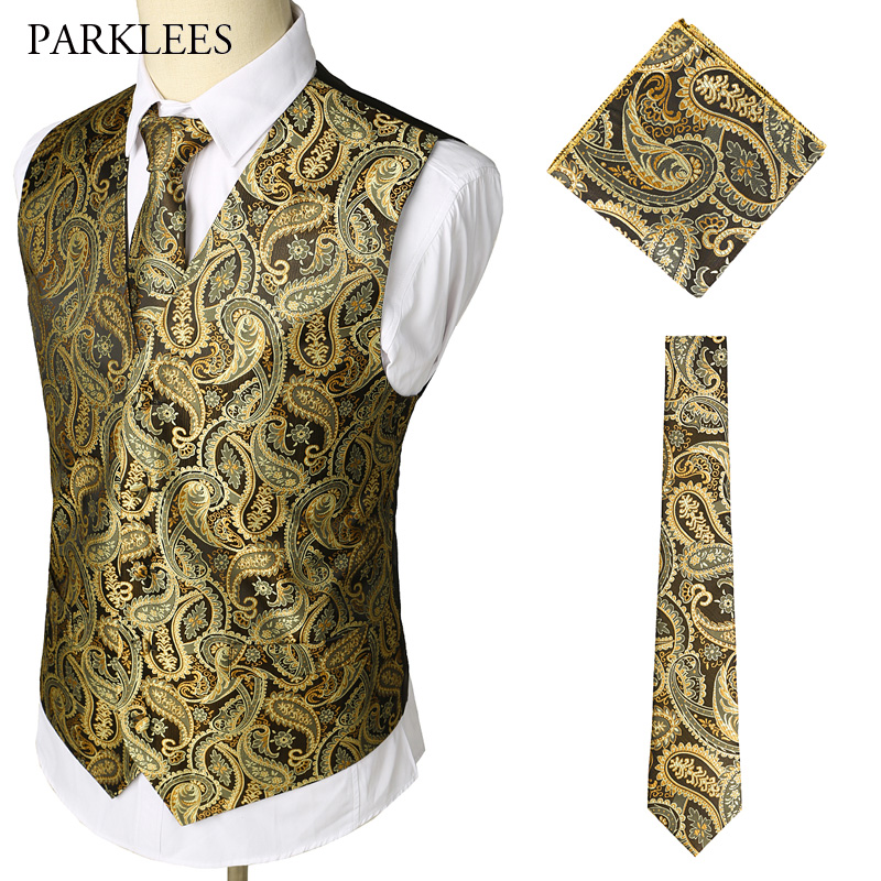 Brand Gold Mens Suit Vest Tie Pocket Square 3pcs Set Paisley Floral Sleeveless Wedding Waistcoat Men Party Club Prom Gilet Homme in Vests from Men 39 s Clothing