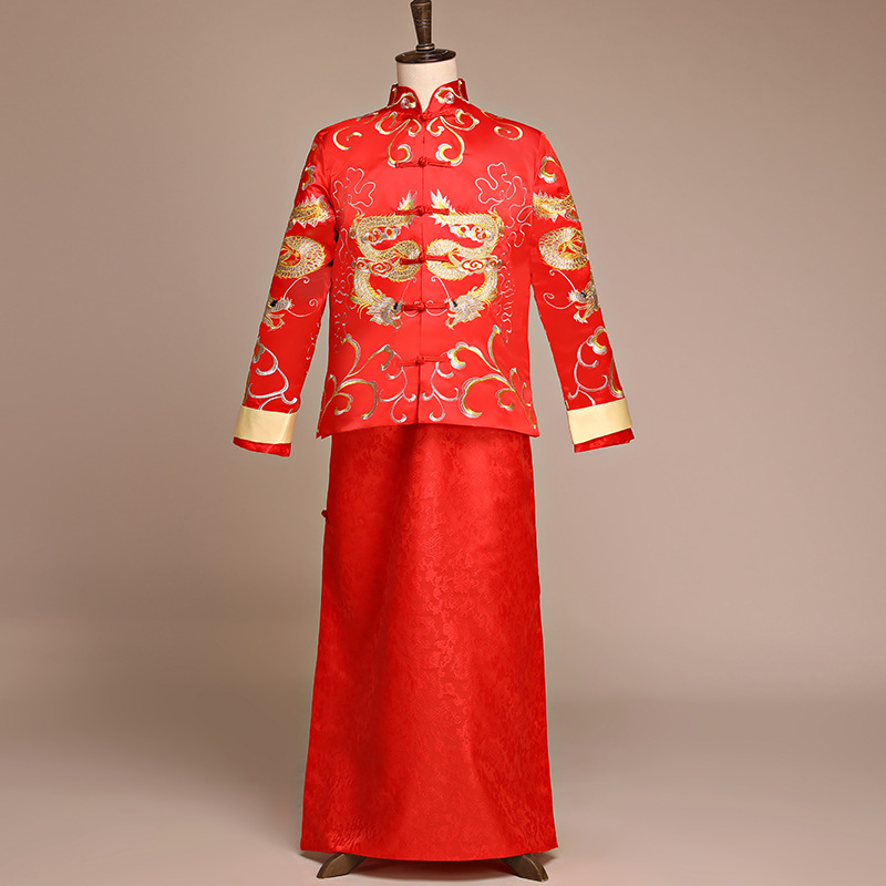 2PCS Oriental Bridegroom Wedding Long Robe Gown Overseas Chinese Suit Toast Clothing Men Dragon Suzhou Embroidery