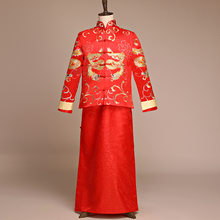 2PCS Oriental Bridegroom Wedding Long Robe Gown Overseas Chinese Suit Toast Clothing Men Dragon Suzhou Embroidery Costume(China)