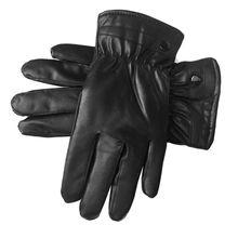 Men Faux Leather Winter Gloves Warm Lined Thicken Ruched Wrist Hand Warmer Soft Plush Black Gloves стоимость