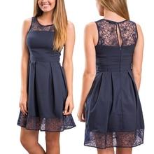 Hot Sale Lace Patchwork Women Dress 2016 Summer Style Sleeveless Vestidos Plus Size Sexy Slim Club Party Dresses Casual Vestido