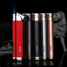 Jet Torch Turbo Lighter Gas Windows Compact Pipe Lighter Strip Windproof Metal Cigar Lighter 1300 C Butane No Gas ultra thin compact torch lighter gas torch jet lighter gas window windproof metal pipe cigar lighter 1300 c butane lighter