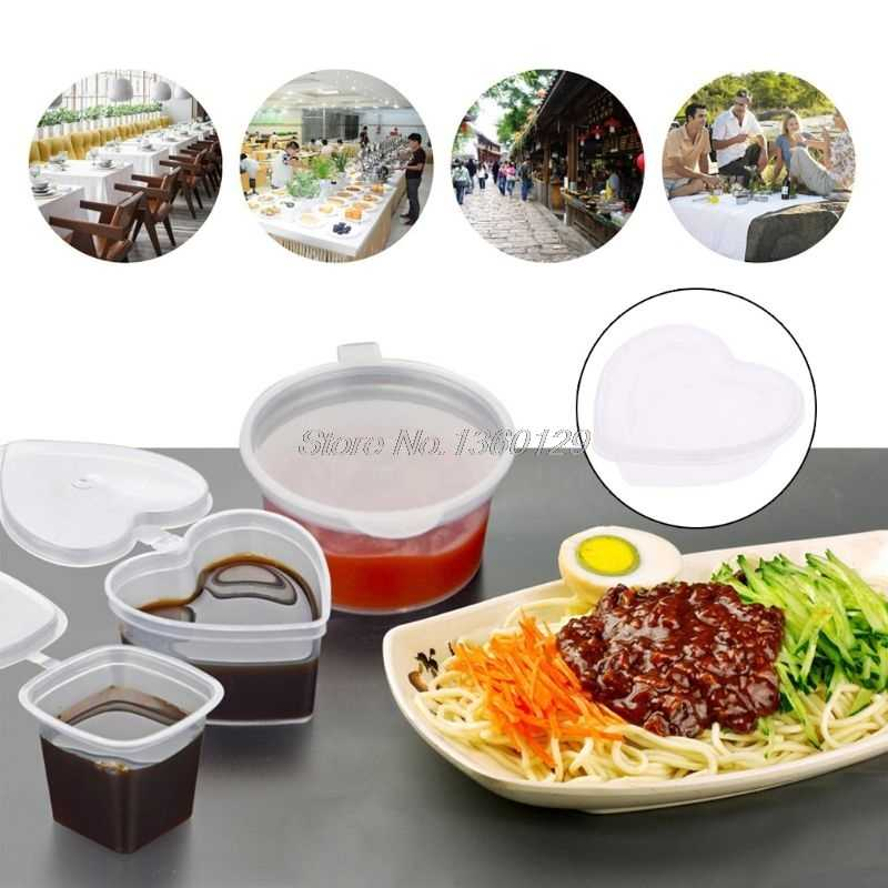 Heart Shape Clear Plastic Sauce Chutney Cups Food Container Slime Storage Box Case With Lid 120ml Wholesale&DropShip