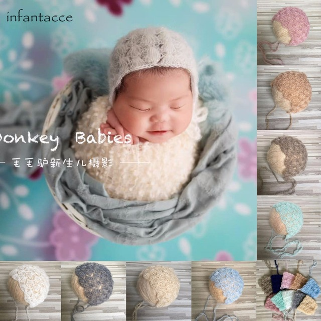 Mohair hat newborn photo prop knit hats newborn photography props accessories baby beanie cap new born