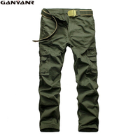 GANYANR Brand Men's Solid Trousers Camping Hiking Military pants men Cargo Khaki Army Multi-Pockets Cotton Long Outdoor 2017