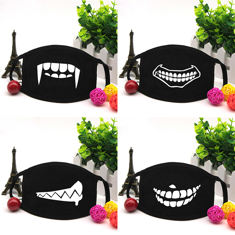 1PC Anti Dust Mask Kawaii Emoji Cotton Mouth Mask Cute Unisex Cartoon Mouth Muffle Flu Face Mask Ventilate Cartoon Teeth Masks