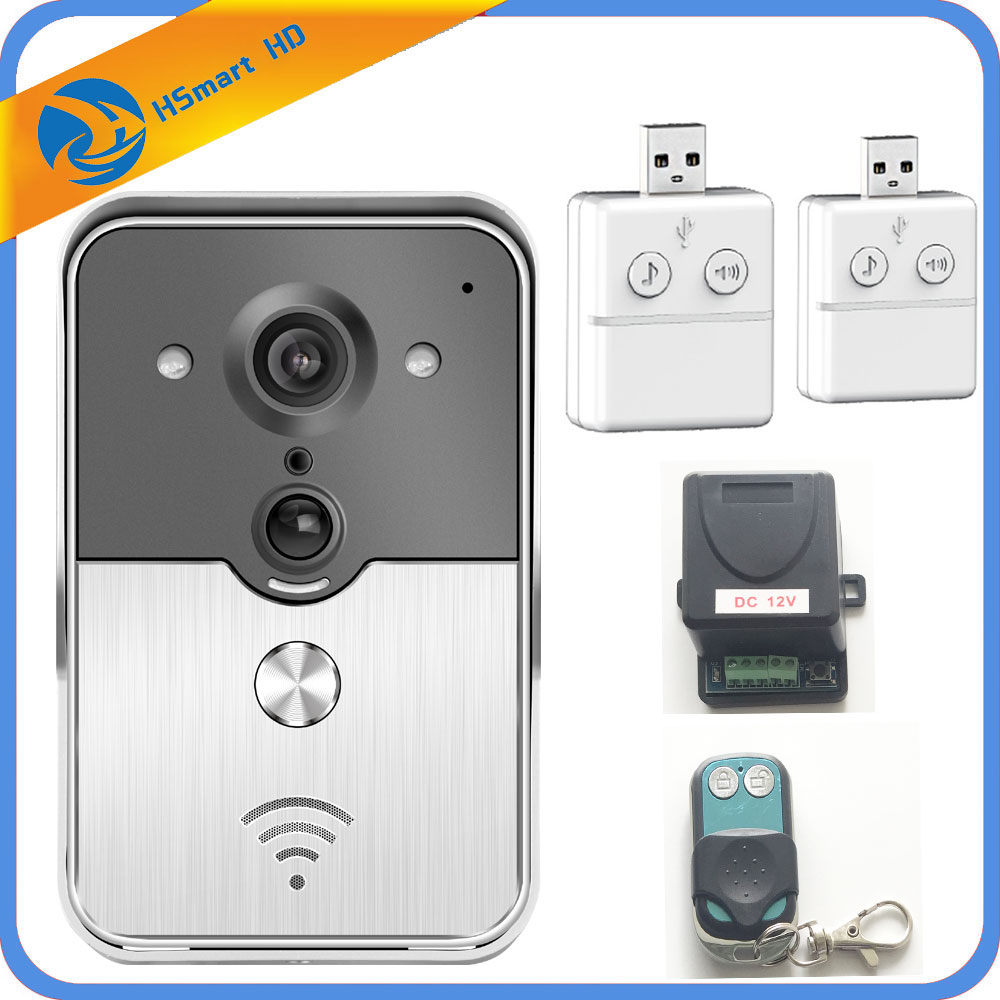 HD Camera Wifi Video Door Phone Doorbell Wireless Intercom Support SD Card for Android IOS Smartphone Remote View Unlock 2016 new wifi doorbell video door phone support 3g 4g ios android for ipad smart phone tablet control wireless door intercom
