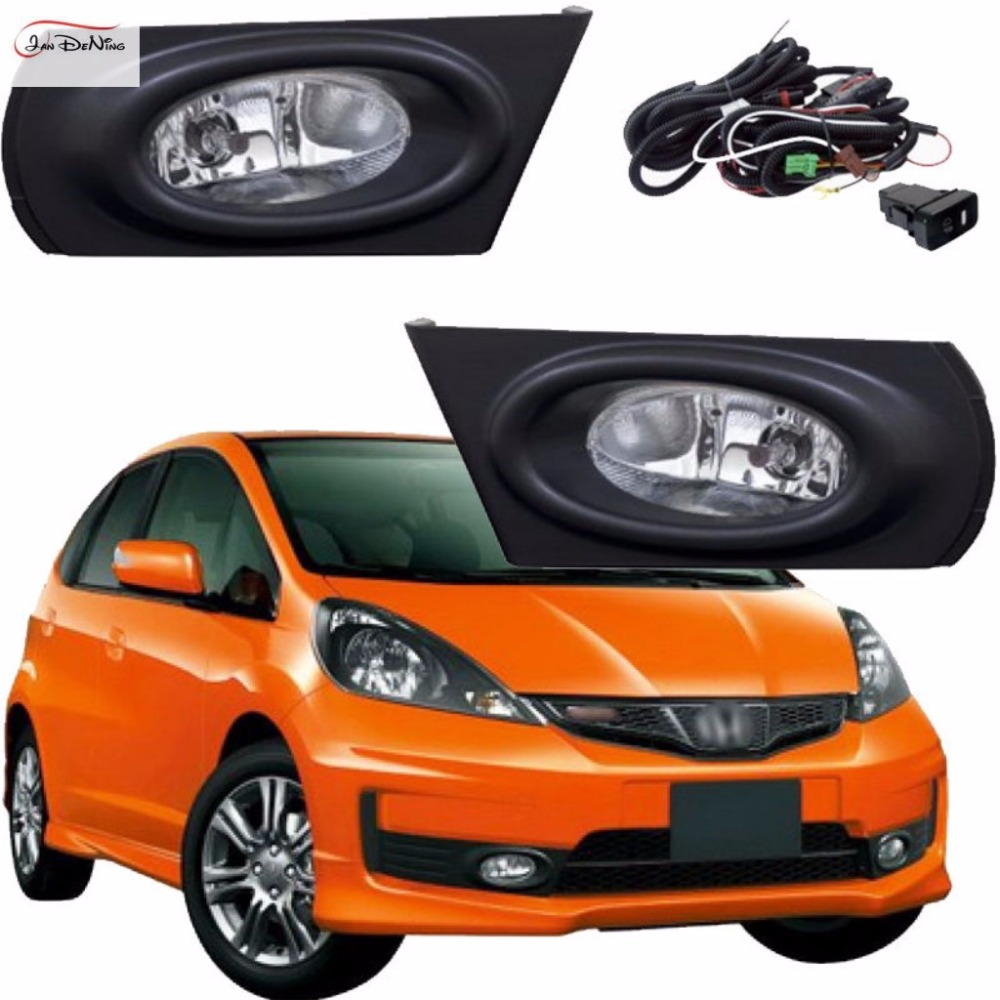 JanDeNing Car Fog Lights for Honda JAZZ /FIT 2011 ~ 2013 Clear Halogen bulb:H11-12V 55W Front Fog Lights Bumper Lamps Kit fog light set 12v 55w car fog lights lamp for toyota hiace 2014 on clear lens wiring kit free shipping