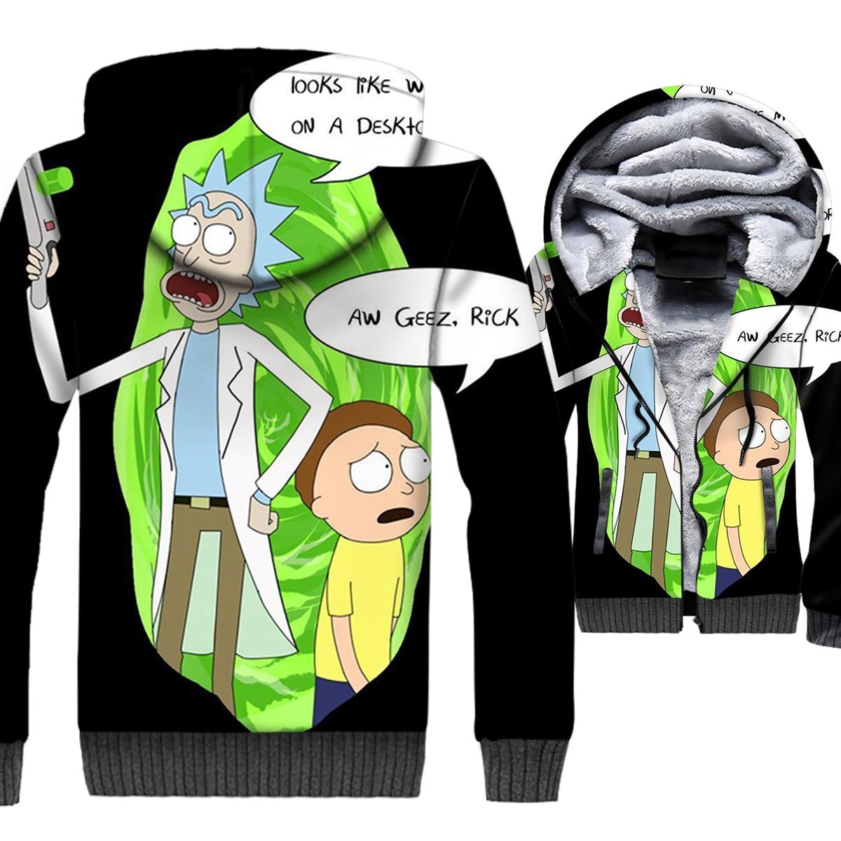 Rick and Morty Jacket 3D Print Hoodie Men Cartoon Hooded Sweatshirt Winter Thick Fleece Zip up Coat Monsters Hip Hop Streetwear