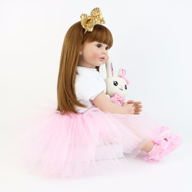 60cm Soft Silicone Reborn Baby Doll Toys For Girl Vinyl Princess Toddler Babies Alive Bebe Bonecas