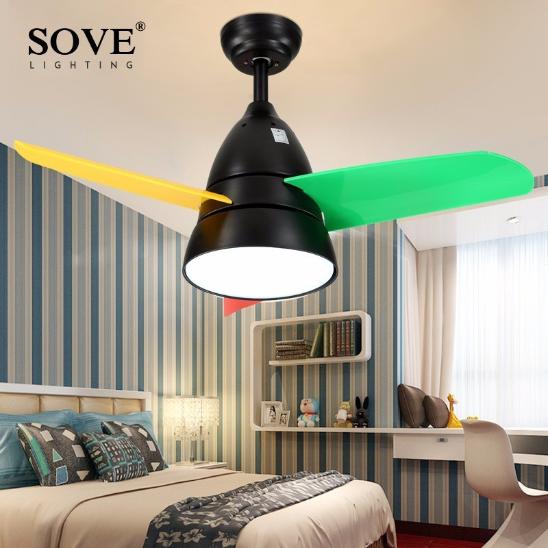 SOVE Modern LED 36 Inch Kids Ceiling Fans With Lights Bedroom Child Ceiling Fan Children 220
