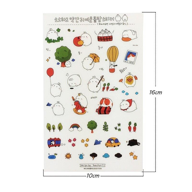 Купить с кэшбэком 6sheets/lot Sweet Cartoon Rabbit PVC/PET Stickers Kids DIY Dairy Wall Phone Book Decoration Multifunction Stickers Scrapbooking