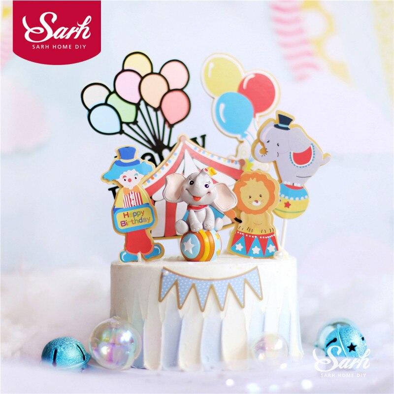 Цирк клоун торт Toppers с днем рождения многоцветный шар украшение для детского дня вечерние товары для выпечки милые подарки