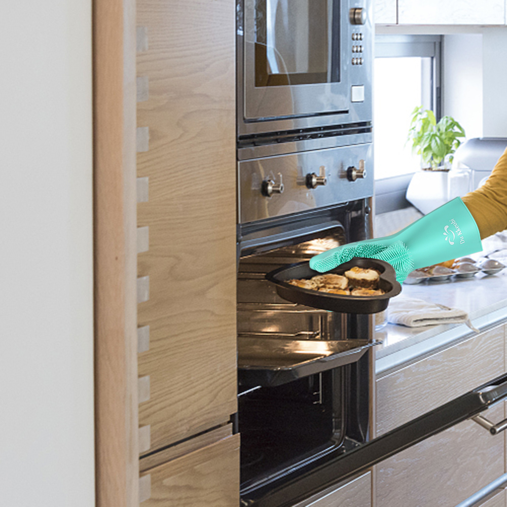 Food Grade Dishwashing Gloves Magic Rubber Silicone Dish Washing Gloves And Kitchen Scrubber 15